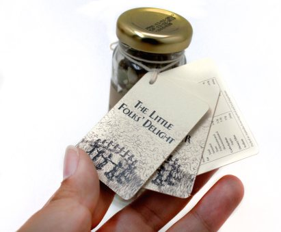The Little Folk's Delight   Bottle's tag close up